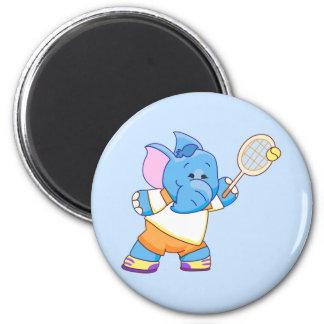 Lil Blue Elephant Tennis 6 Cm Round Magnet