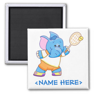 Lil Blue Elephant Tennis Square Magnet