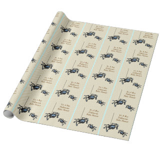 Lil Blue Spider Halloween Baby Shower Gift Wrap