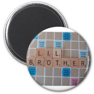 lil brother 6 cm round magnet