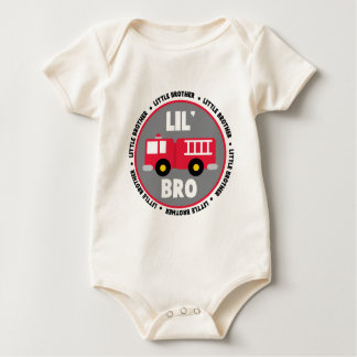 Lil Brother Fire truck Baby Bodysuit