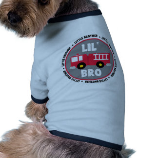 Lil Brother Fire truck Dog T Shirt