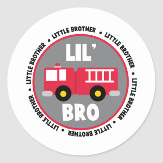 Lil Brother Fire truck Round Sticker