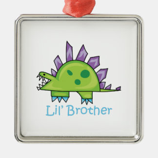 Lil Brother Silver-Colored Square Decoration