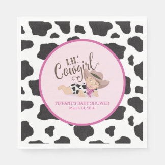 Lil' Cowgirl Baby Shower Napkins Brunette/Brown Paper Napkin