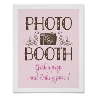 Lil' Cowgirl Photo Booth Sign on Cardstock Poster