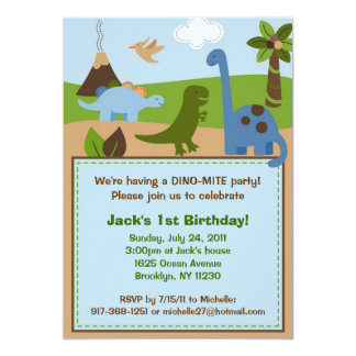 Lil Dino Dinosaur Boys Birthday Invitations