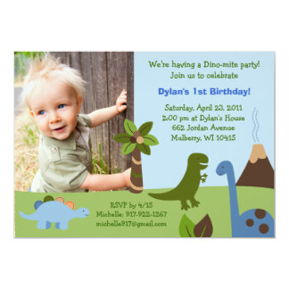 Lil Dino Dinosaur Custom Birthday Invitations