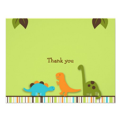 Lil Dino Dinosaur Thank You Note Cards Personalized Invite