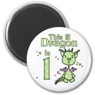 Lil Dragon 1st Birthday 6 Cm Round Magnet