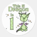 Lil Dragon 1st Birthday Round Stickers