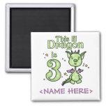 Lil Dragon 3rd Birthday Fridge Magnet