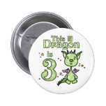 Lil Dragon 3rd Birthday Pinback Buttons