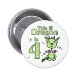 Lil Dragon 4th Birthday Pinback Button