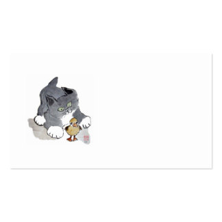 Lil Ducky and Gray Kitten Business Card Template