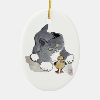 Lil' Ducky and Gray Kitten Christmas Ornament