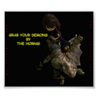 Lil Emo Girl Grab Your Demons by the Horns Print