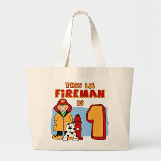 Lil Fireman 1st Birthday Large Tote Bag