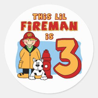 Lil Fireman 3rd Birthday Classic Round Sticker