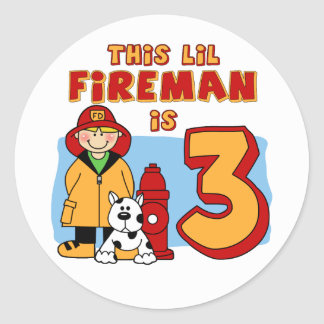 Lil Fireman 3rd Birthday Round Sticker