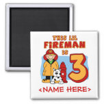Lil Fireman 3rd Birthday Square Magnet