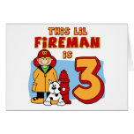 Lil Fireman 3rd Birthday Stationery Note Card
