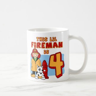 Lil Fireman 4th Birthday Basic White Mug