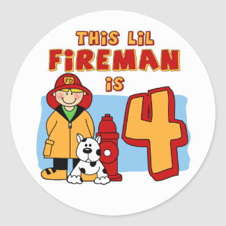 Lil Fireman 4th Birthday Classic Round Sticker