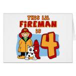 Lil Fireman 4th Birthday Stationery Note Card