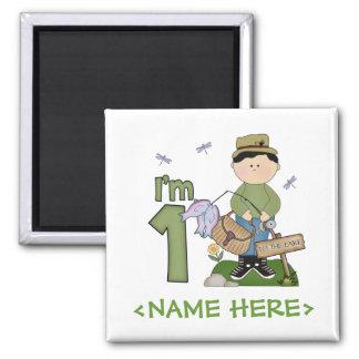 Lil Fisherman 1st Birthday Square Magnet