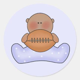 Lil Football Baby Boy- Ethnic Round Sticker