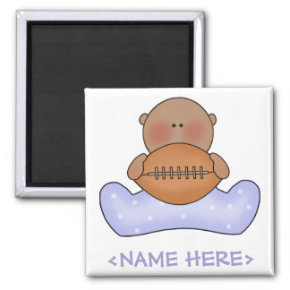 Lil Football Baby Boy- Ethnic Square Magnet