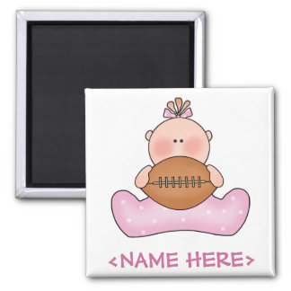 Lil Football Baby Girl Square Magnet