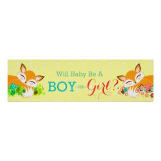 Lil Foxie Cubs - Gender Reveal Baby Shower Banner Poster