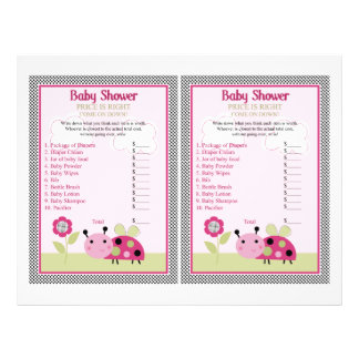 """""""Lil Ladybug with Polka Dots"""" Price is Right Game 21.5 Cm X 28 Cm Flyer"""