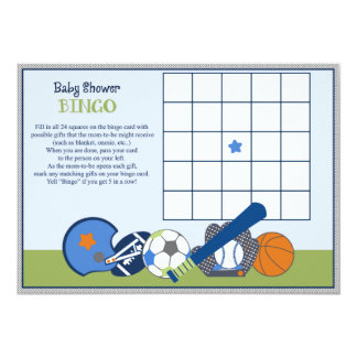 Lil/Little Sports Player Baby Shower Bingo Game 13 Cm X 18 Cm Invitation Card