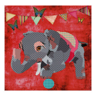 Lil Lucky Elephant Butterflies Red Poster