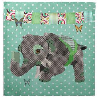 Lil' Lucky Elephant Green Stars American MoJo Napk Cloth Napkins