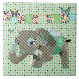Lil Lucky Elephant Green Tile