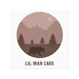 Lil Man Cave Boys Room Nursery Playroom Bear Art Canvas Print
