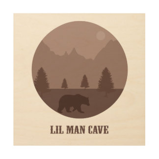 Lil Man Cave Wood Wall Art for Baby Boys Bedroom