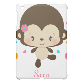 Lil Miss Monkey iPad Case-pink iPad Mini Cover