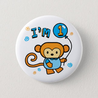Lil Monkey 1st Birthday 6 Cm Round Badge