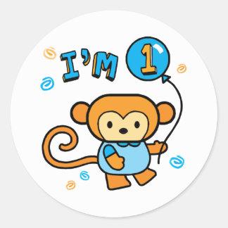 Lil Monkey 1st Birthday Round Sticker