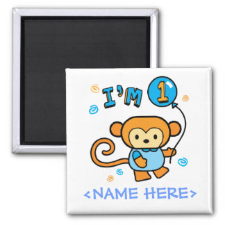 Lil Monkey 1st Birthday Square Magnet