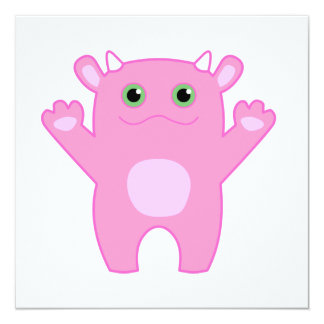 Li'l Monster Baby Invitation - pink