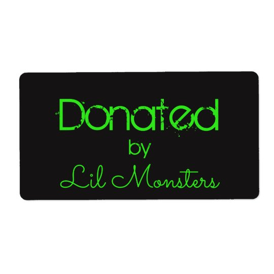 Lil Monsters label sticker neon green black
