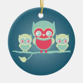 Lil Munchkin Kawaii Owls Double-Sided Ceramic Round Christmas Ornament