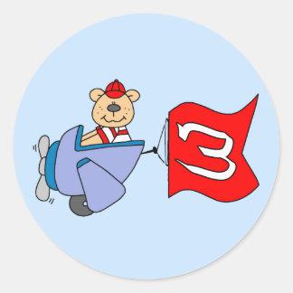 Lil Pilot Bear 3rd Birthday Round Sticker
