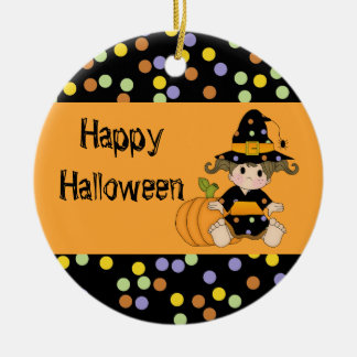 Lil Polka Dot Witch with Pumpkin Christmas Ornament